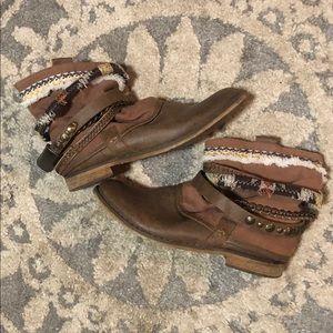 Brown boho booties